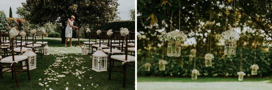 wedding ceremony details in Tuscany villa