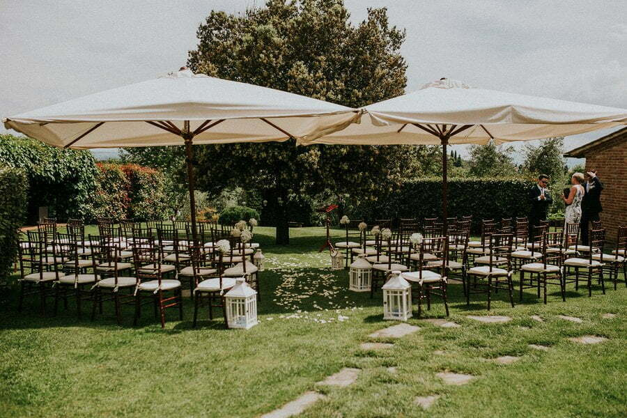 Wedding ceremony setup in Casale del Marchese