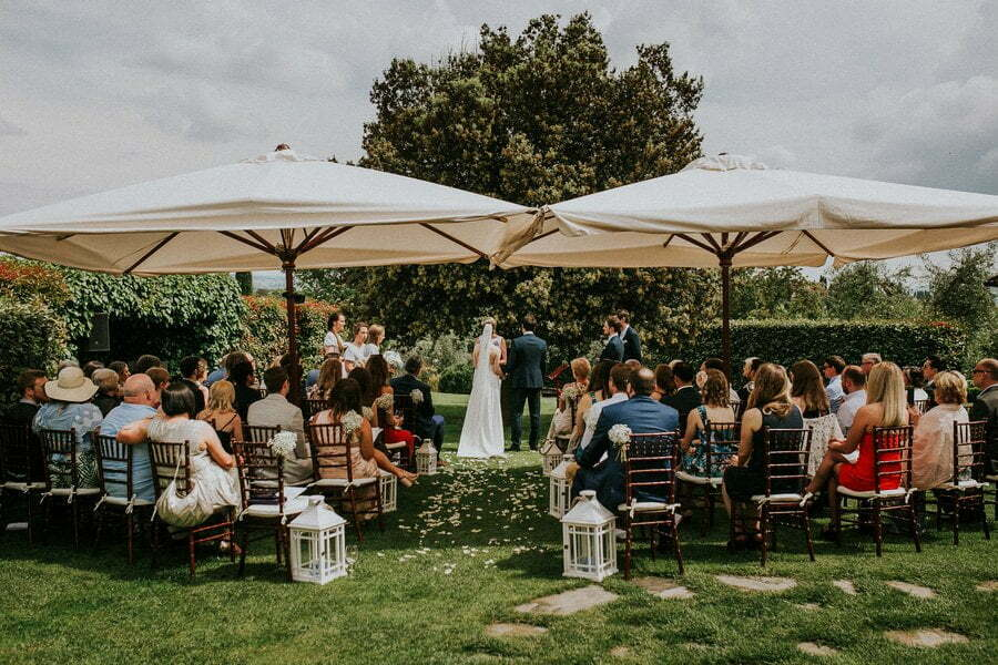Wedding ceremony in Italian villa in Tuscany
