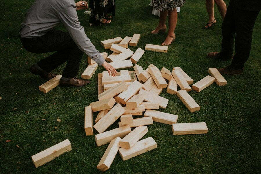 guests playing giant Djenga at wedding