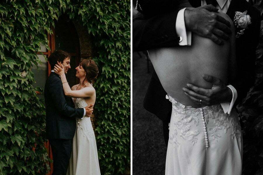 bride and groom huging