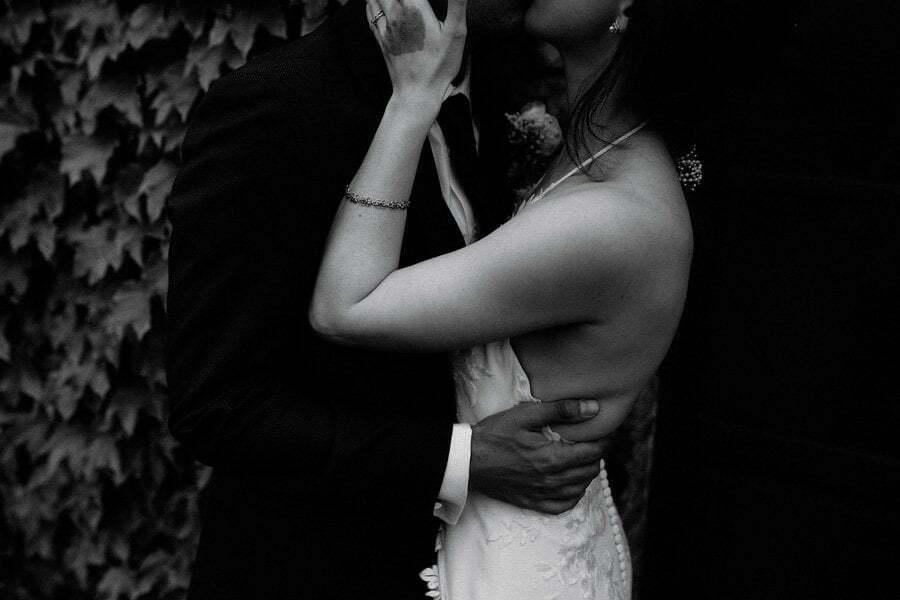 bride and groom hug detail