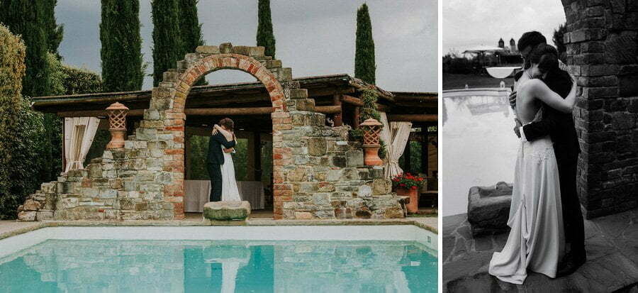 bride and groom emotional near the pool