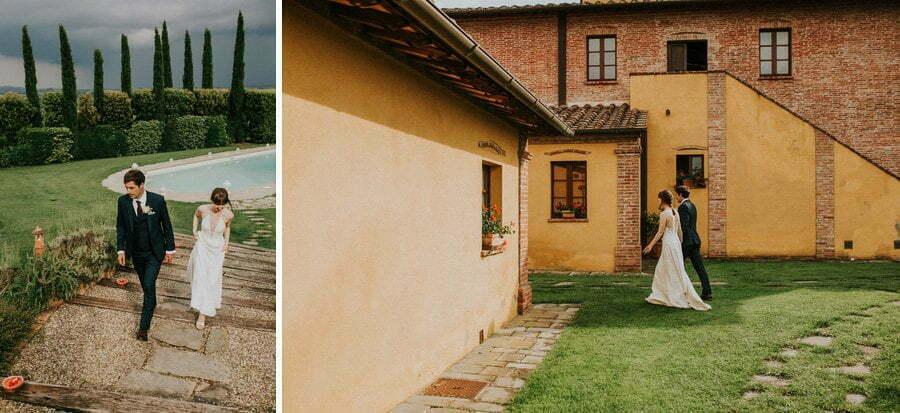 bride and groom walking in Casale del Marchese