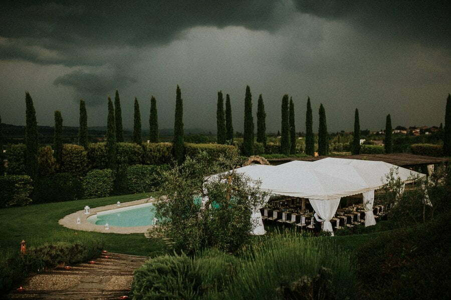 Storm at wedding in Tuscany
