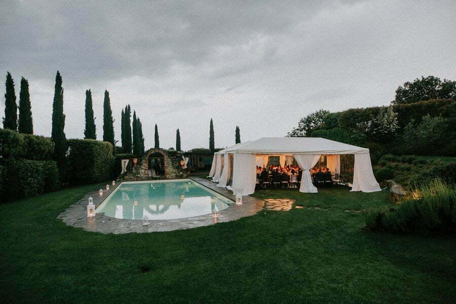 wedding near the pool at villa in Tuscany